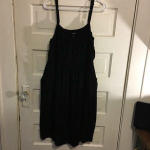 Torrid Sz 2 Black Knit Sleeveless Dress Side Pocke